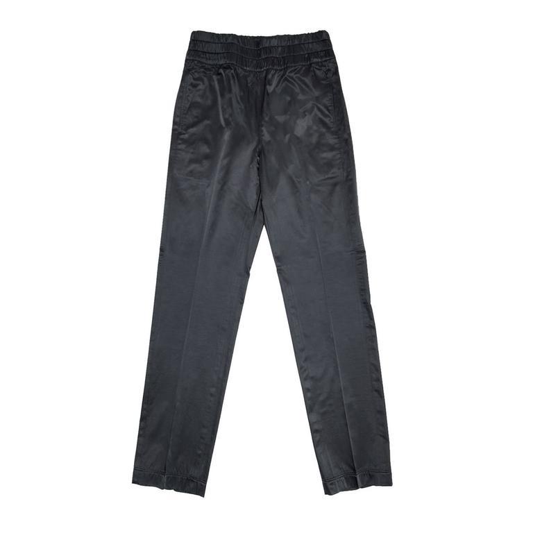 Dries Van Noten Black Shiny Elastic Waistband Pants