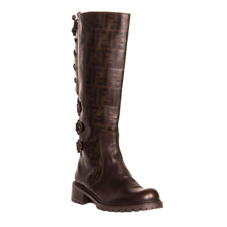 97d8ccc1e3c Fendi Brown Braided Lace Up Boots