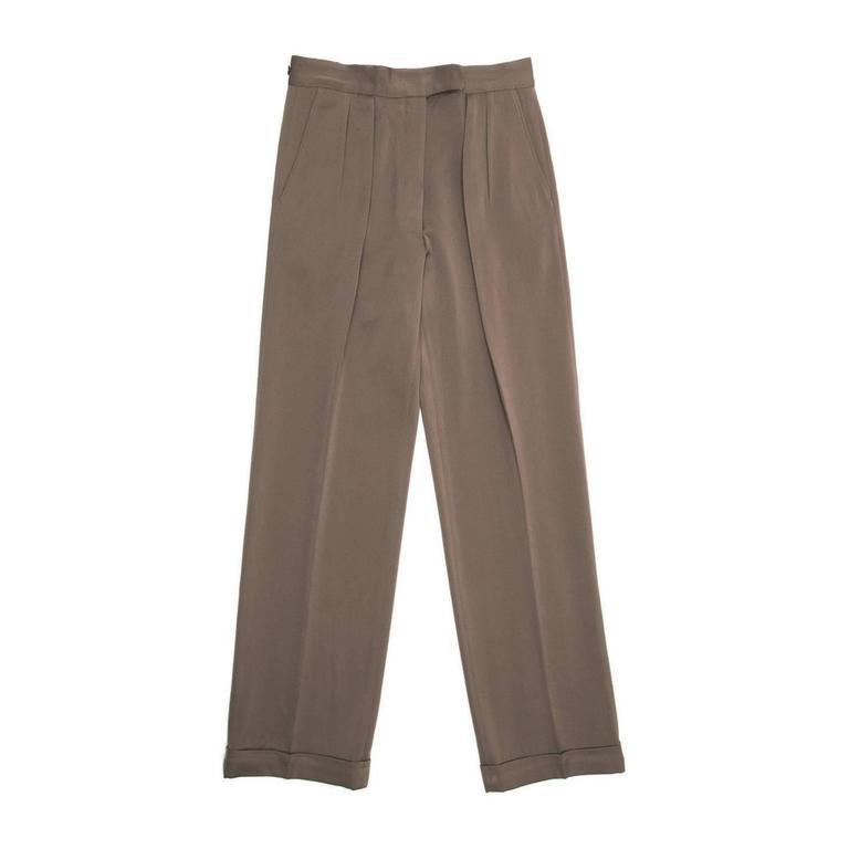 Dries Van Noten Brown Wool Pleated Pants