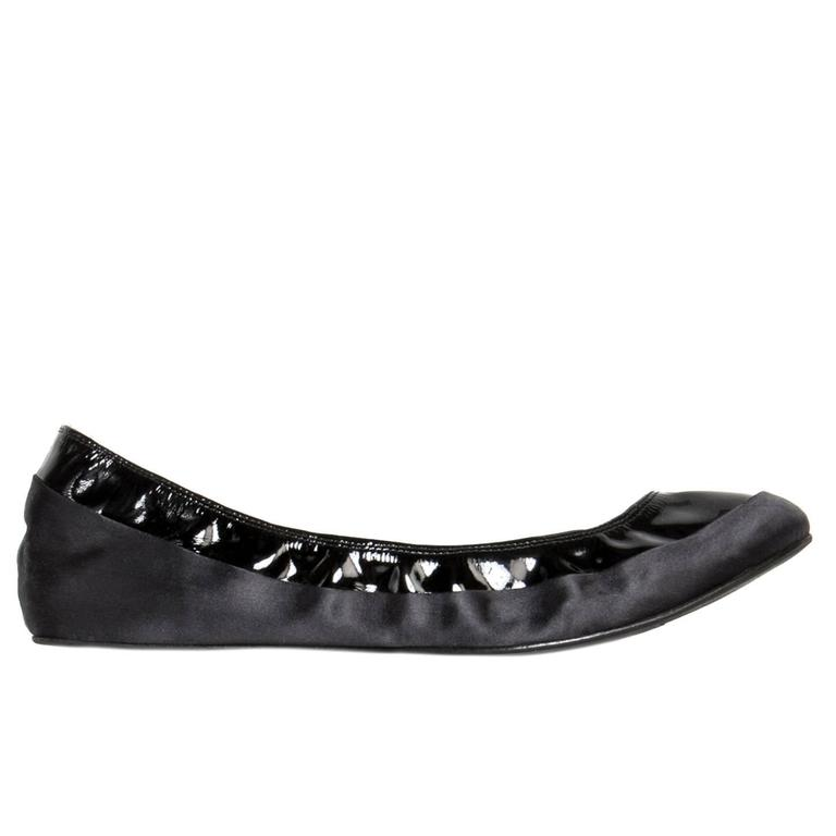 Lanvin Black Satin & Patent Leather Ballerinas