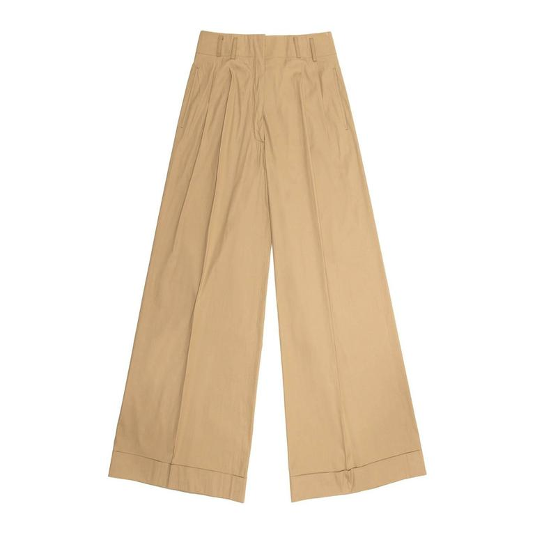 Jil Sander Khaki Cotton Wide Pants