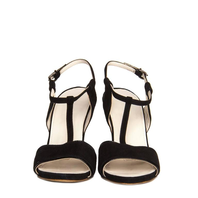 Jil Sander Black Suede & Leather Wedge Sandals In New Condition For Sale In Brooklyn, NY