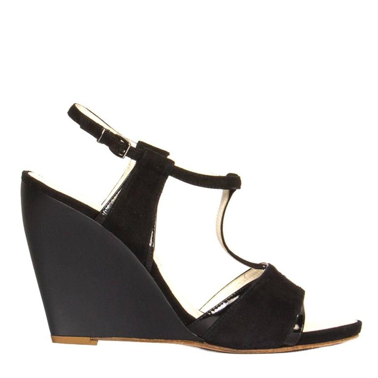 0e3aeab7415 Jil Sander Black Suede and Leather Wedge Sandals For Sale at 1stdibs