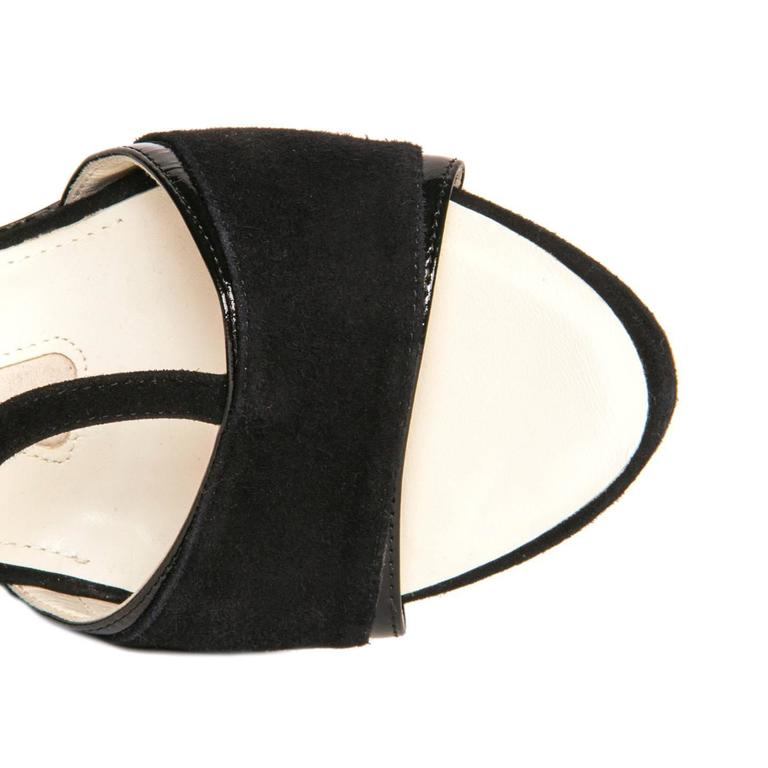 Jil Sander Black Suede & Leather Wedge Sandals For Sale 1