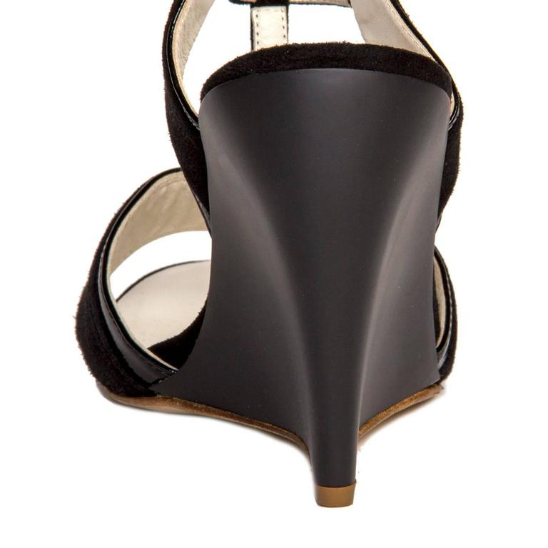 Jil Sander Black Suede & Leather Wedge Sandals For Sale 2