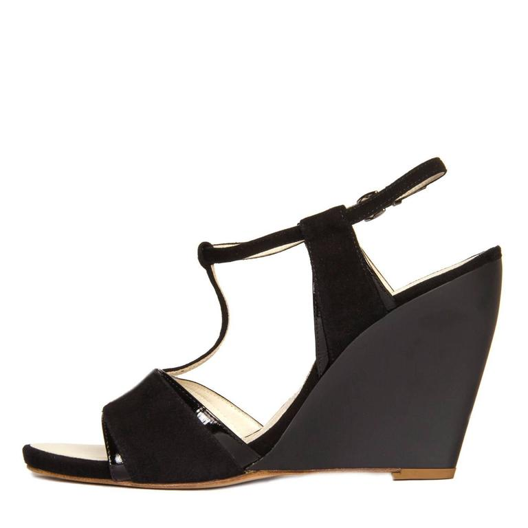 Women's Jil Sander Black Suede & Leather Wedge Sandals For Sale