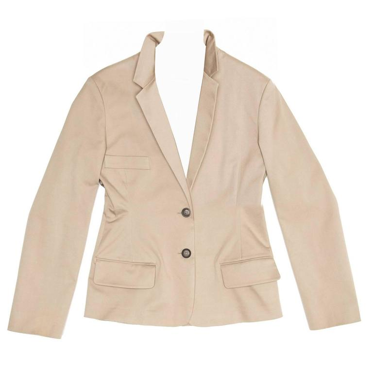Jil Sander Taupe Cotton Blazer For Sale