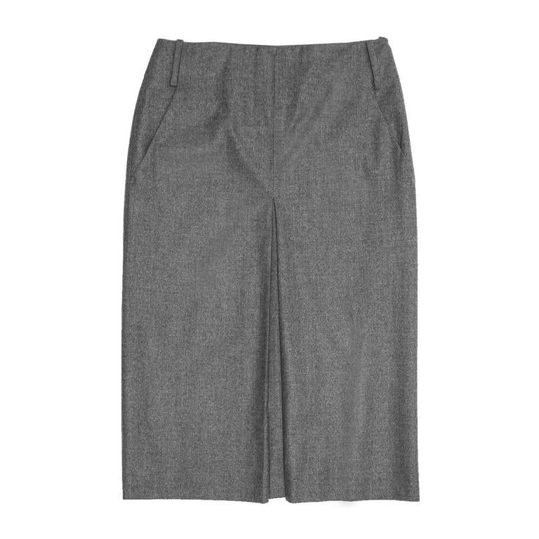 Jil Sander Grey Wool Pleated Skirt