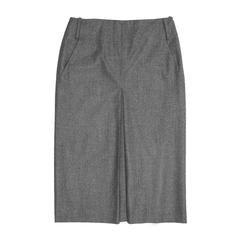 Jil Sander Grey Wool Pleated Skirt