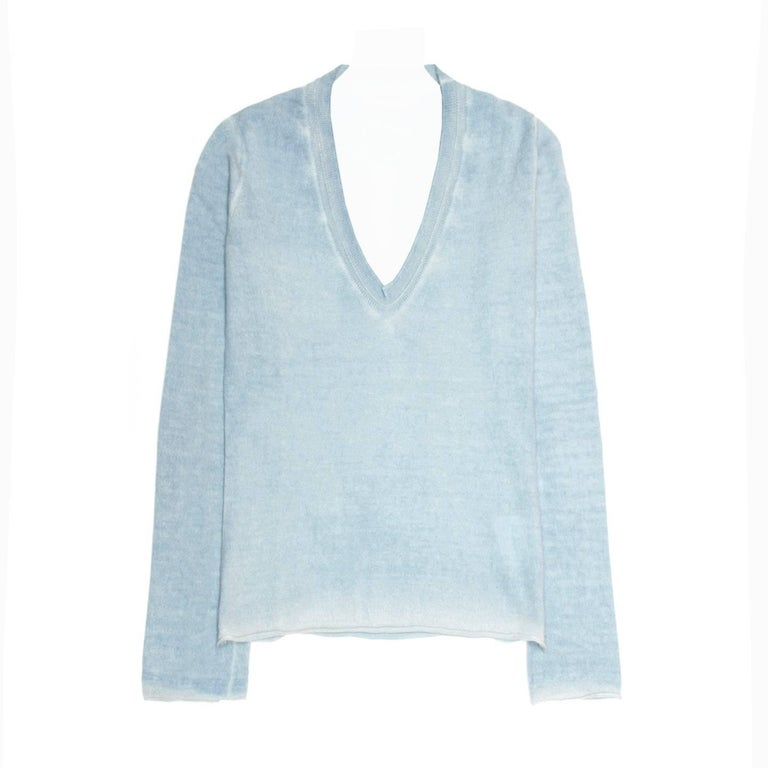 Jil Sander Blue Cashmere Sprayed Sweater
