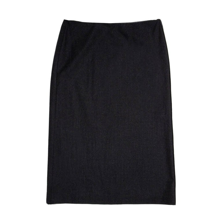 Jil Sander Grey Stetch Wool Skirt