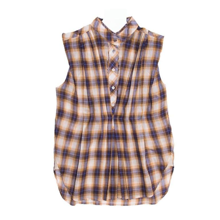 Marc Jacobs Gold & Blue Plaid Cotton Shirt