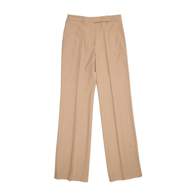 Jil Sander Camel Wool Wide Trousers