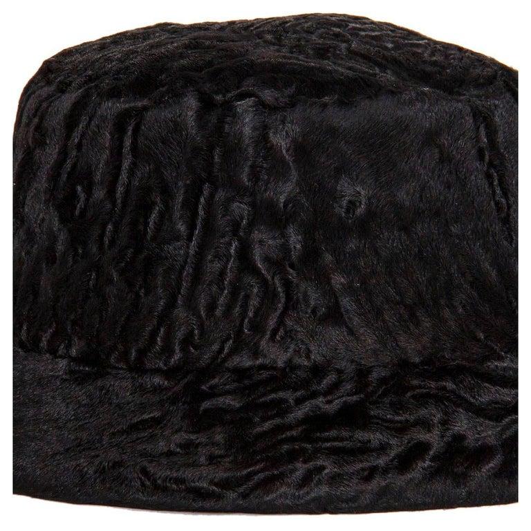 Prada Black Broadtail Lamb Fur Hat 5