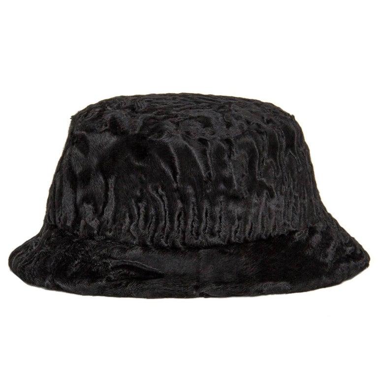 Prada Black Broadtail Lamb Fur Hat For Sale