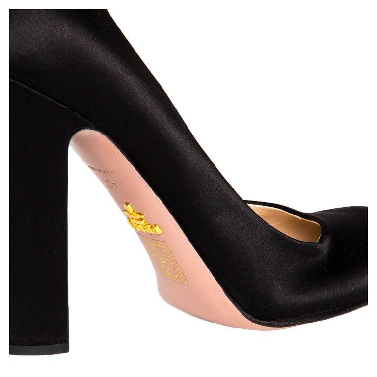 Prada Black Satin Heel Pumps 5