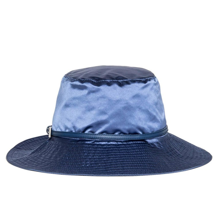 Prada Royal Blue Silk Hat In Excellent Condition For Sale In Brooklyn, NY