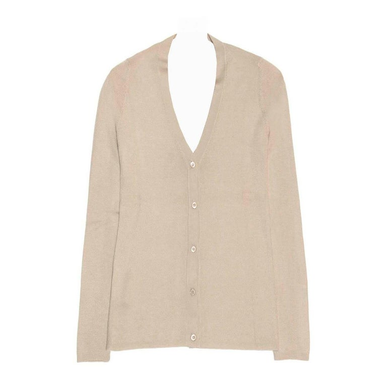 Prada Taupe Silk and Cashmere Cardigan For Sale at 1stdibs