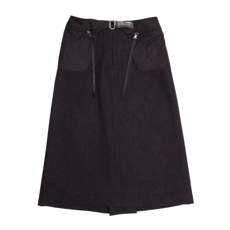 Prada Charcoal Grey Wool Pleated Skirt