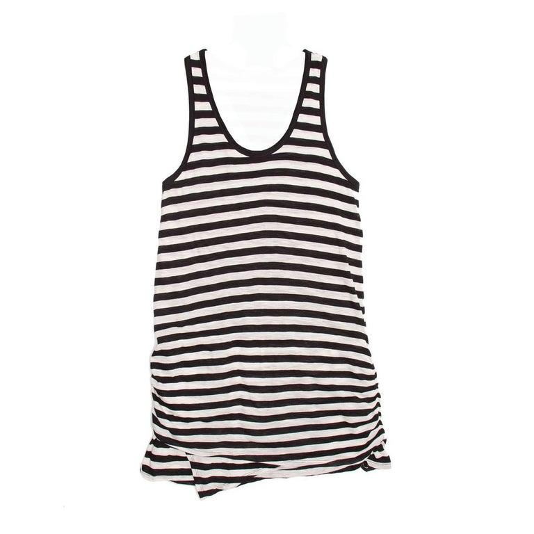 Proenza Schouler Black & Ivory Striped Tank Dress