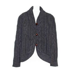 Proenza Schouler Grey Cable Knit Short Cardigan