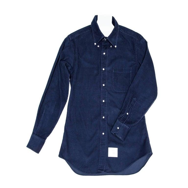 Thom Browne Denim Blue Corduroy Shirt For Man