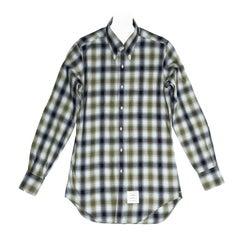 Thom Browne Blue & Green Plaid Shirt For Man