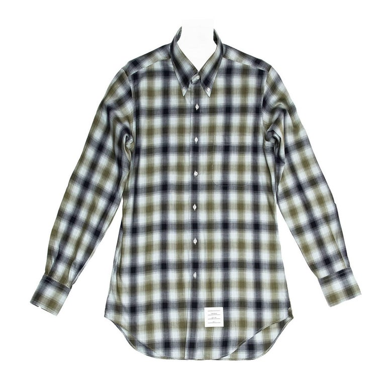 Thom browne blue and green plaid shirt for man for sale at for Blue and green tartan shirt