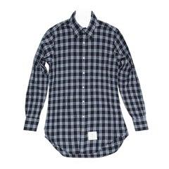 Thom Browne Blue & White Plaid Shirt For Man