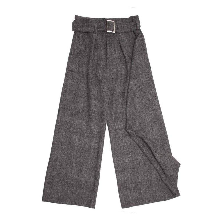 Yohji Yamamoto Grey Wool Wide Legged Pants
