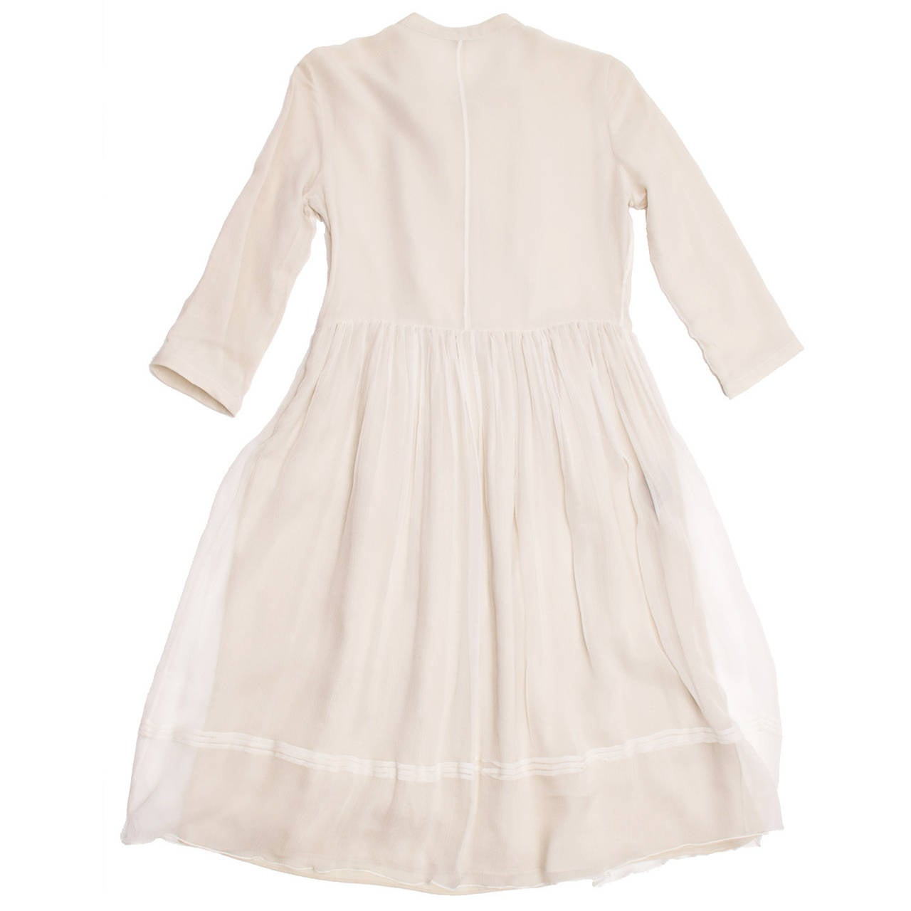 Burberry Ivory Crinkled Silk Chiffon Dress With Tie Neck 3