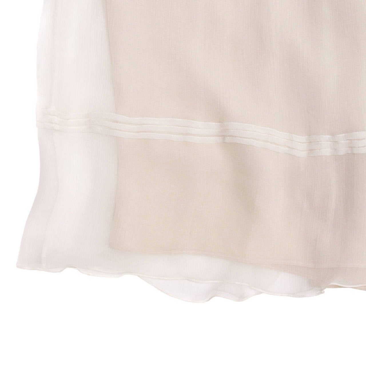 Burberry Ivory Crinkled Silk Chiffon Dress With Tie Neck 4