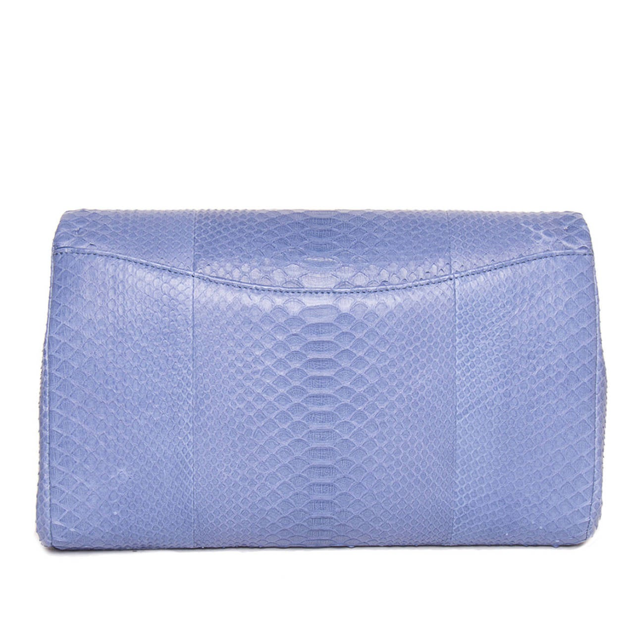 Purple Chanel Periwinkle Python Small Clutch Bag With Strap For Sale