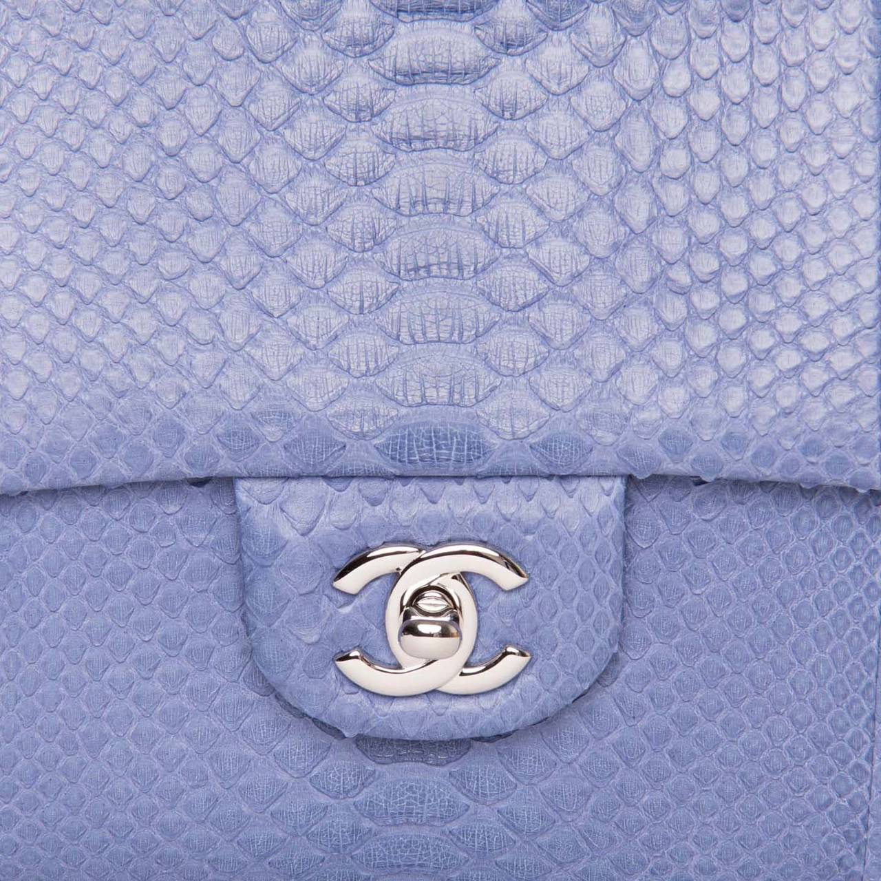 Chanel Periwinkle Python Small Clutch Bag With Strap In New Condition For Sale In Brooklyn, NY
