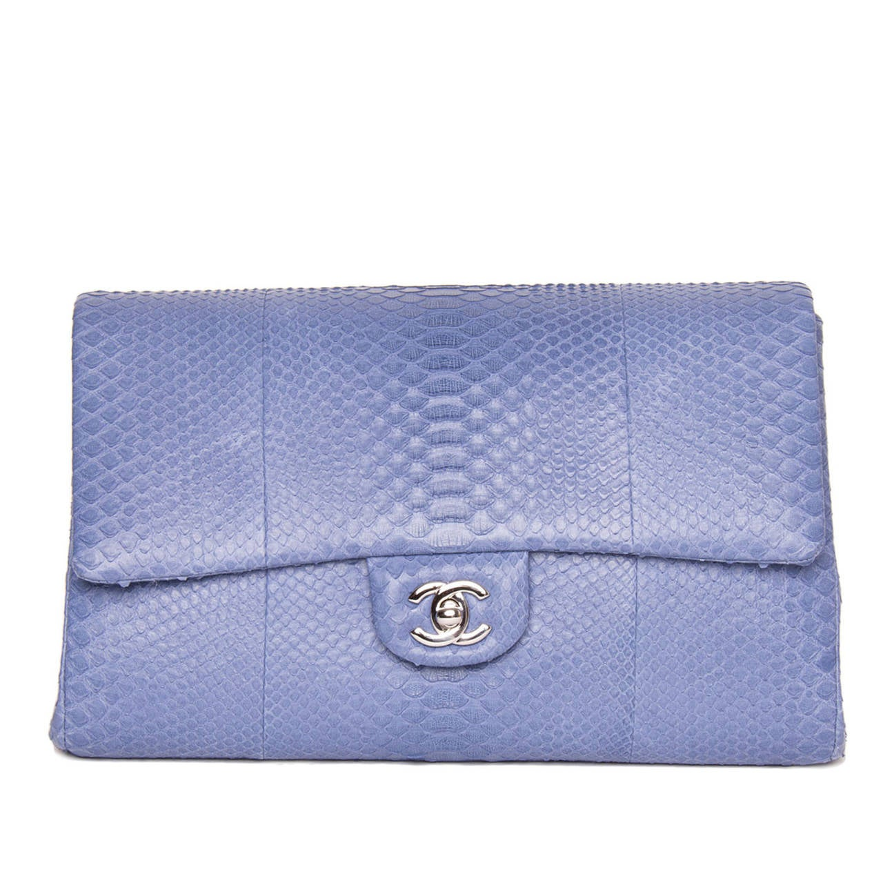 Women's Chanel Periwinkle Python Small Clutch Bag With Strap For Sale