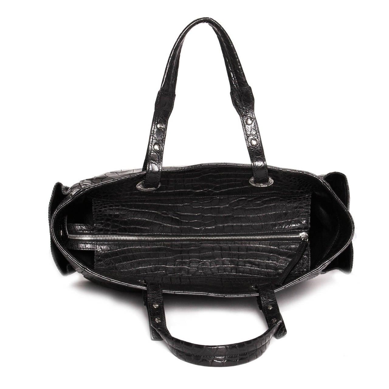 chanel black crocodile shoulder large bag at 1stdibs