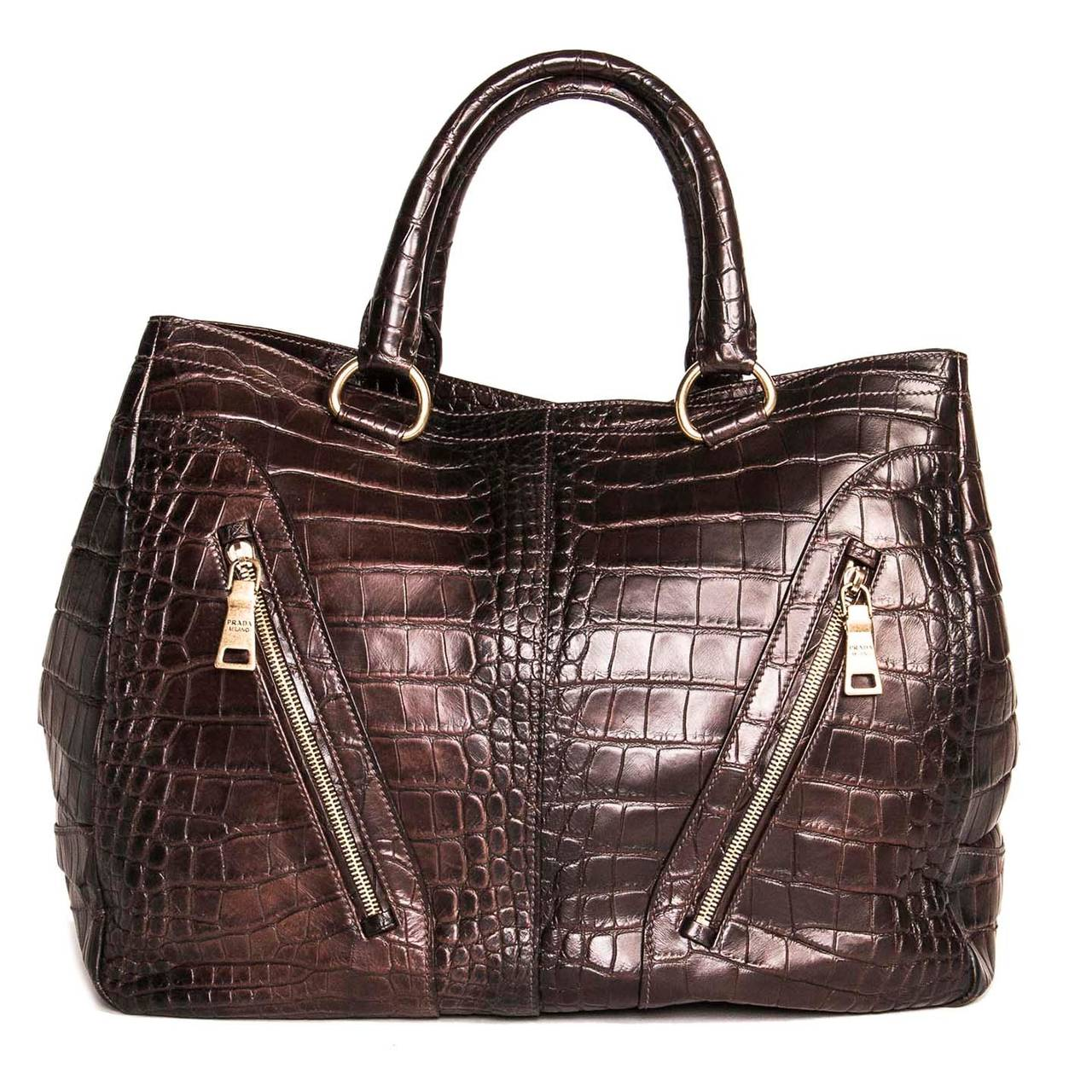 Prada Burgundy Crocodile Oversized Bag In Excellent Condition For Sale In Brooklyn, NY