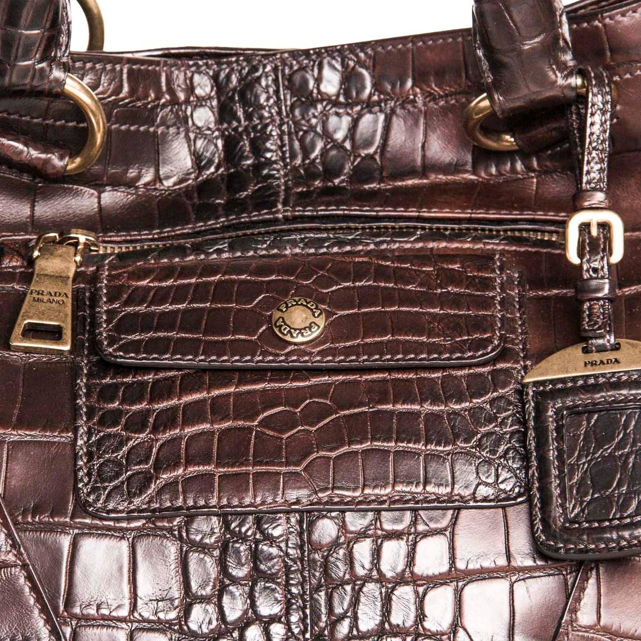Women's Prada Burgundy Crocodile Oversized Bag For Sale