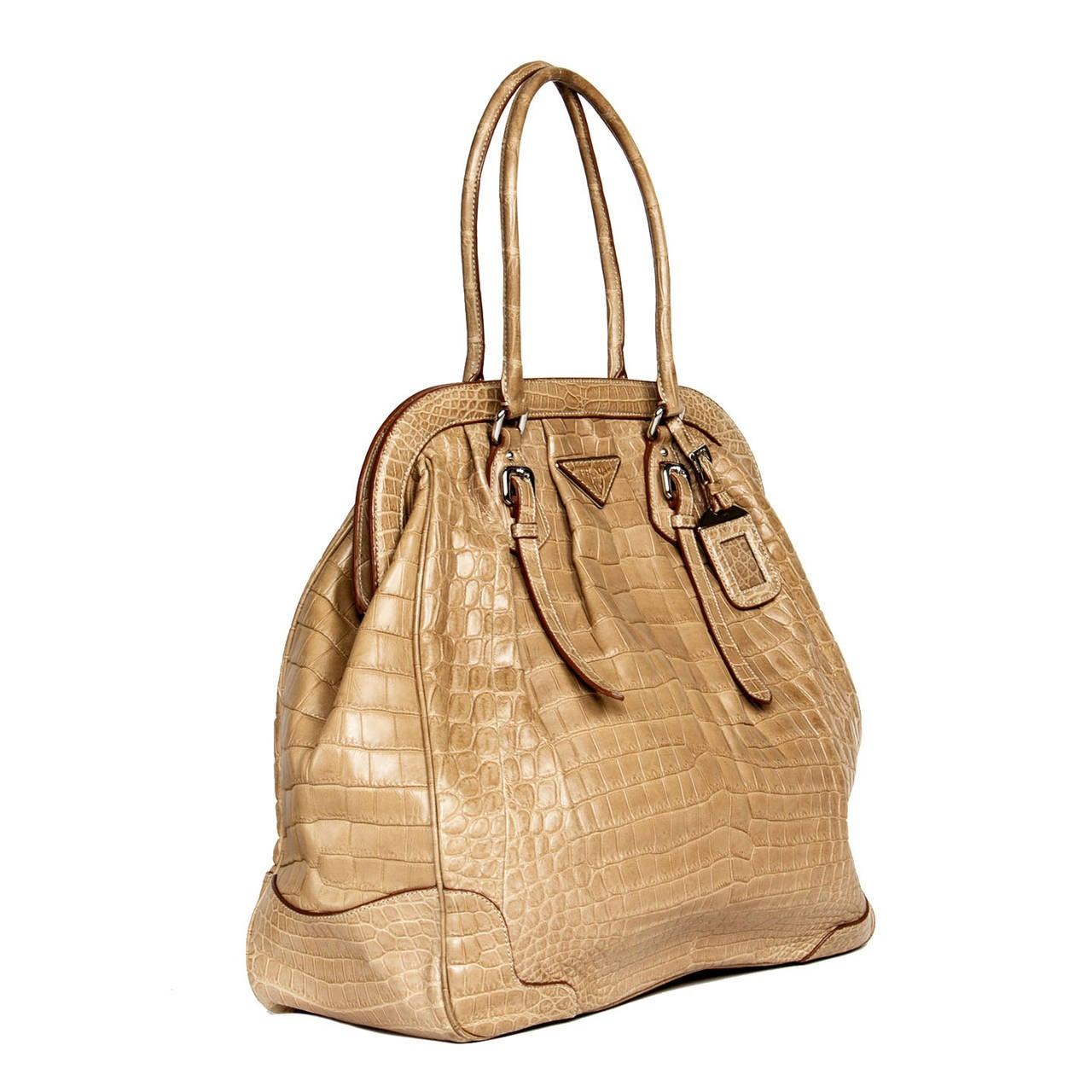 Prada Large Frame Light brown Crocodile Bag In Excellent Condition For Sale In Brooklyn, NY