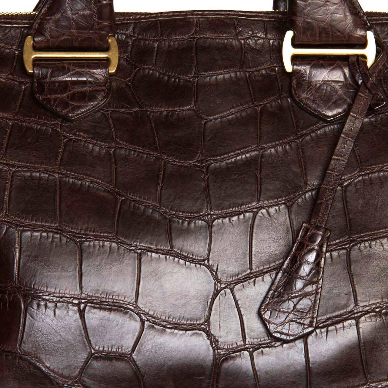 Black Tom Ford Chocolate Brown Crocodile Oversized Bag For Sale