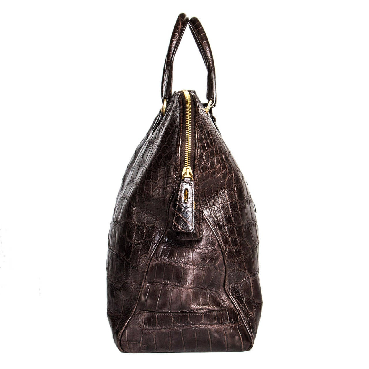 Tom Ford Chocolate Brown Crocodile Oversized Bag In Excellent Condition For Sale In Brooklyn, NY