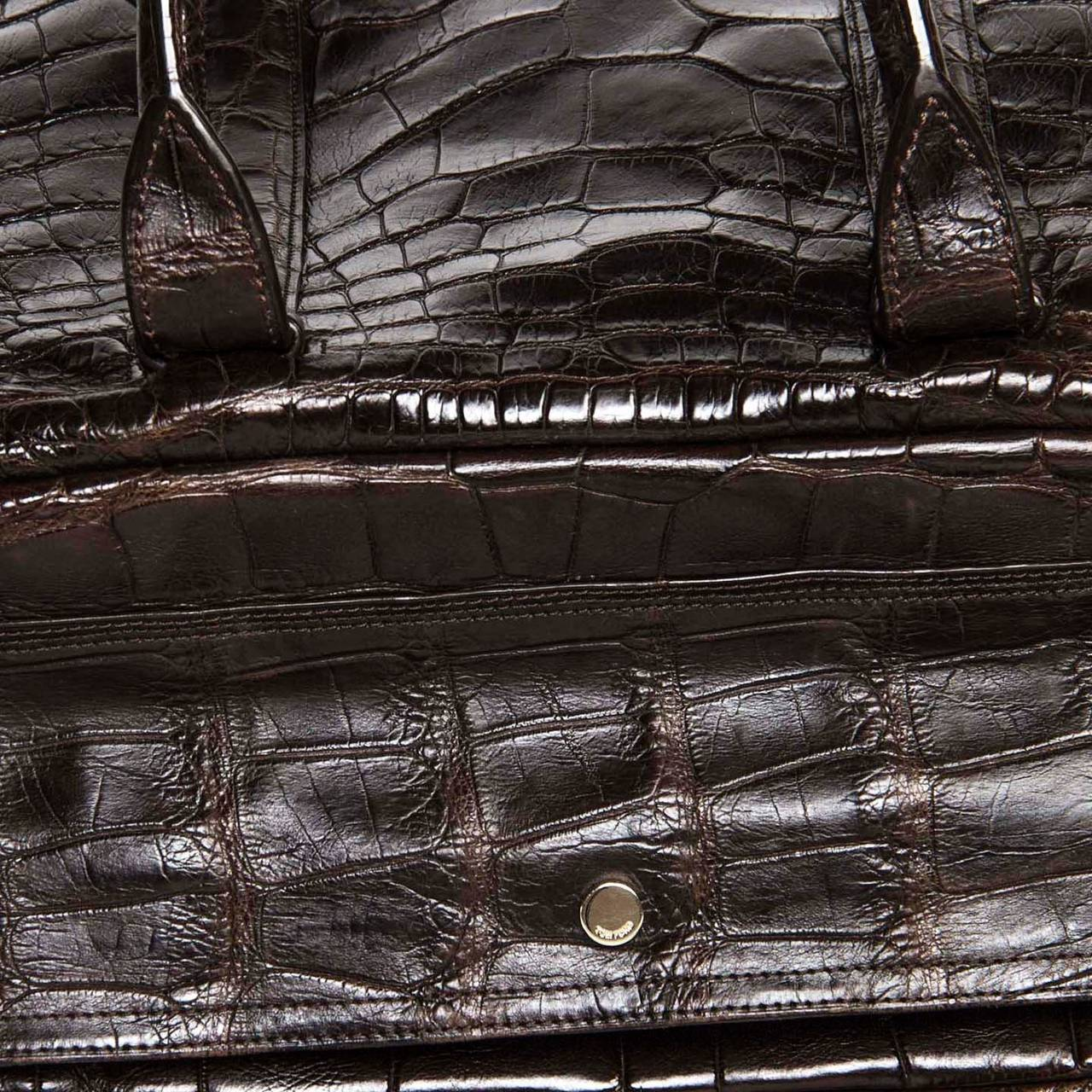 Women's or Men's Tom Ford Chocolate Brown Crocodile Oversized Bag For Sale