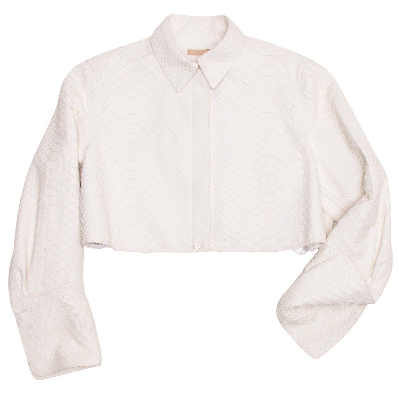 Alaia White Python Bolero Jacket 1