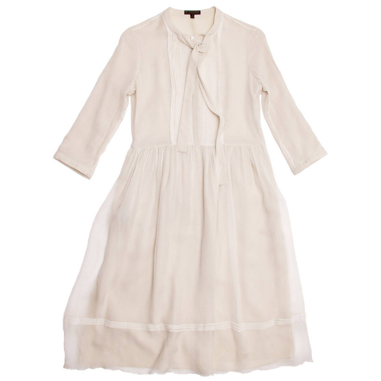Burberry Ivory Crinkled Silk Chiffon Dress With Tie Neck 1