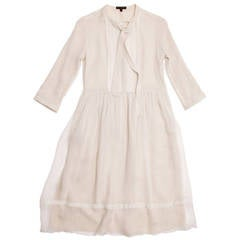 Burberry Ivory Crinkled Silk Chiffon Dress With Tie Neck