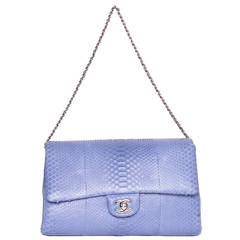 Chanel Periwinkle Python Small Clutch Bag With Strap