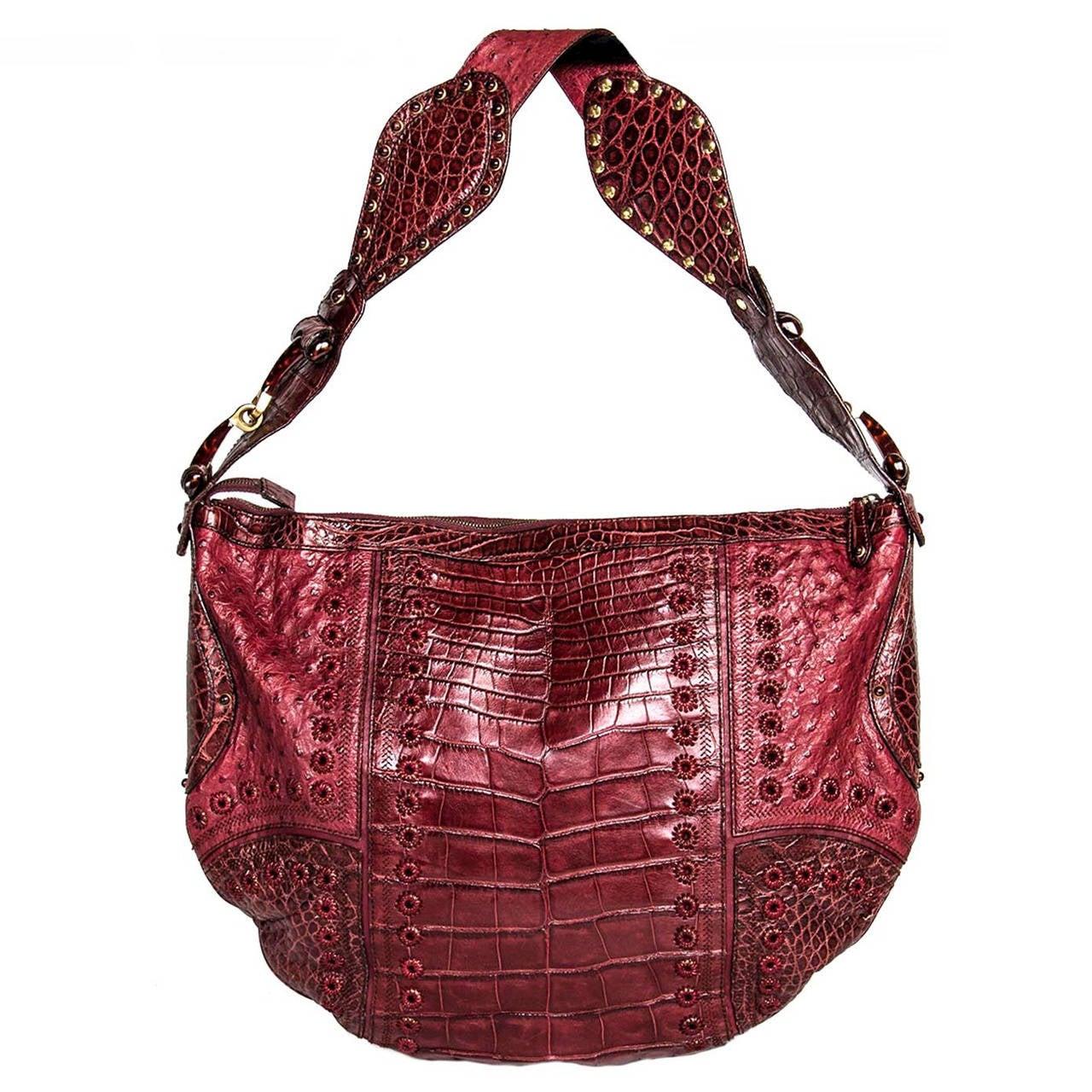 Gucci Burgundy Crocodile And Ostrich Patchwork Bag