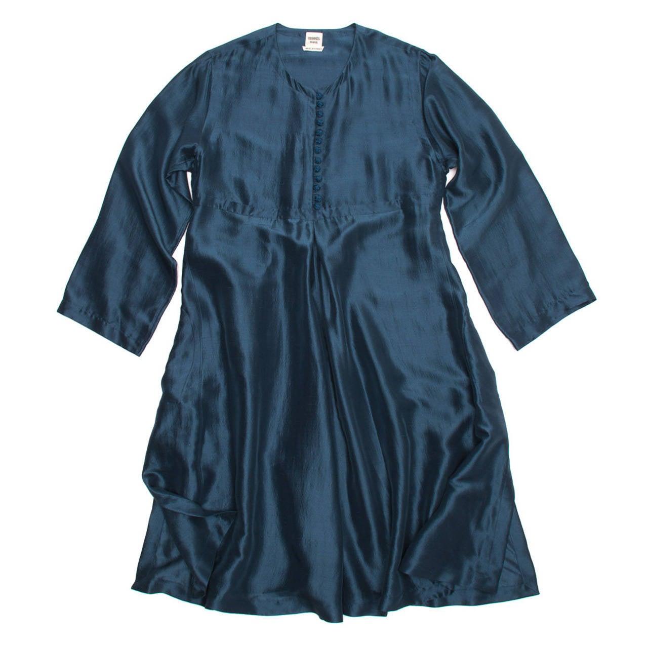 Hermes Silk Teal Tunic Dress 1