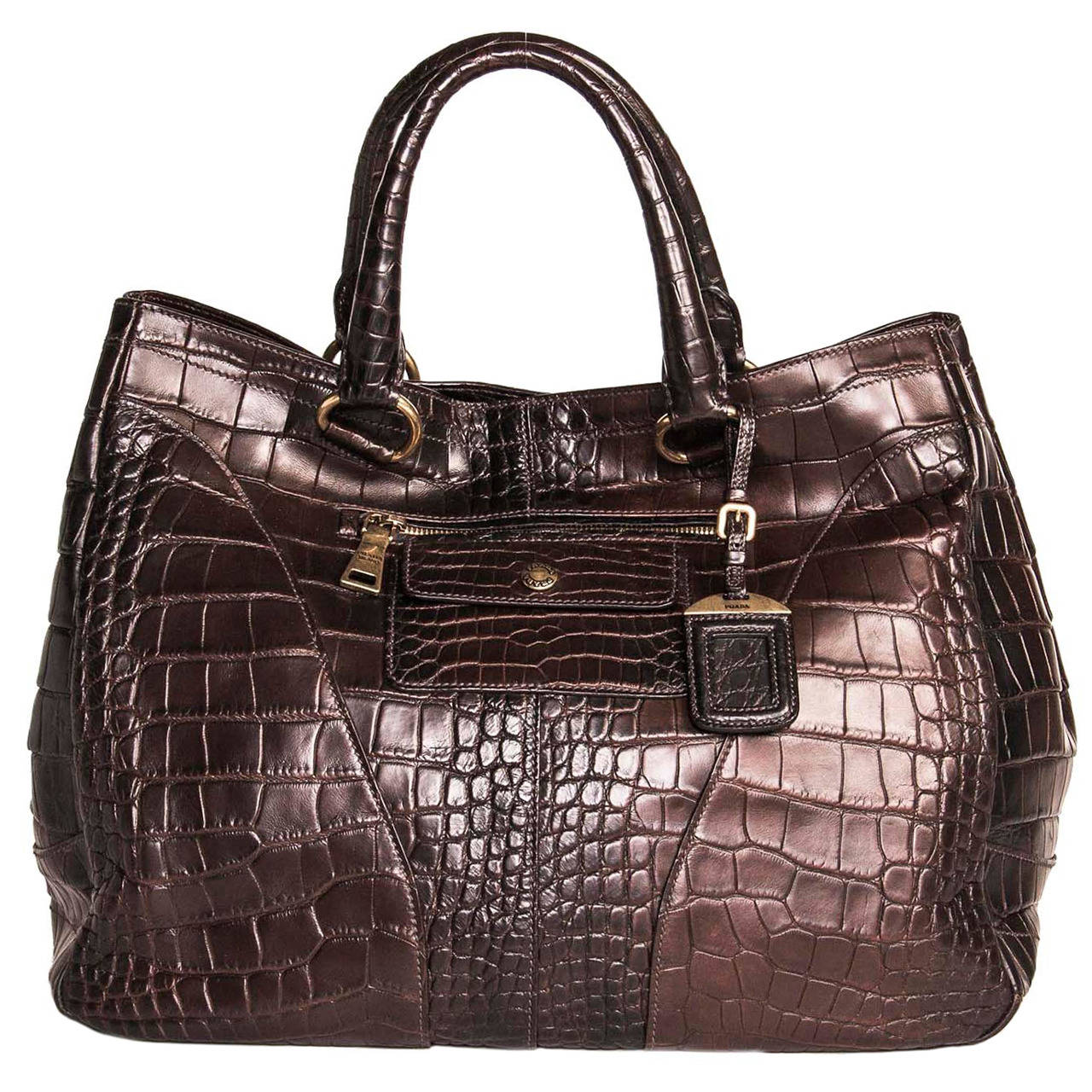 Prada Burgundy Crocodile Oversized Bag For Sale