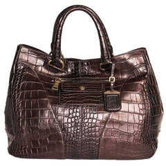 Prada Burgundy Crocodile Oversized Bag